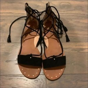 Madewell Black Lace Up Flats